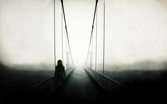 мост, картинка, туман