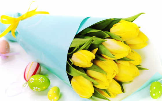 тюльпаны, букет, цветы, марта, белом, яйца, тюльпанов,