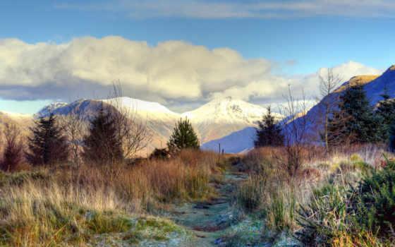 android, пейзажи -, иней, трава, снежные, горы, заморозки, вершины,