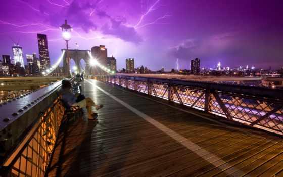 нью, york, сша, люди, мост, мосты,
