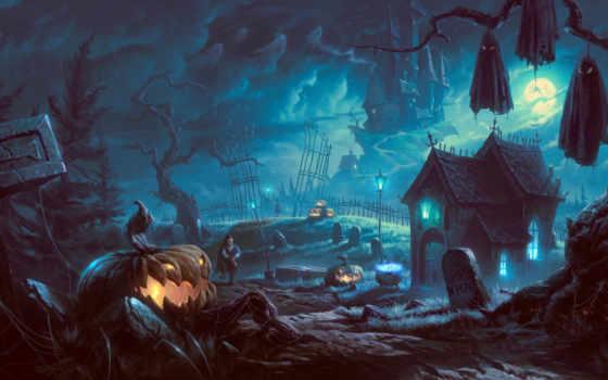 halloween, ночь, тыква, летучие, мыши, art, луна, house, тыквы,