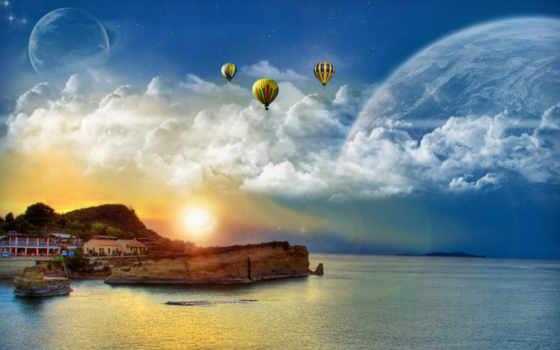 природа, fantasy, красивые, абстрактные, море, закат, landscape,