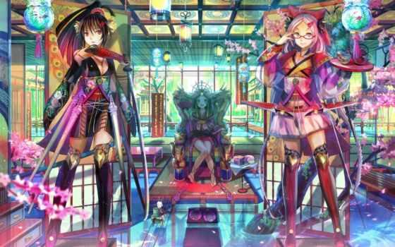 anime, girls, город