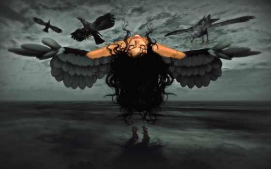 dark, девушка, ворона, art, eyes, closed, fantasy, вороны,