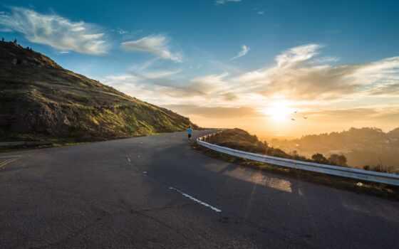 дорога, гора, небо, life, рассвет, зелёный, economy