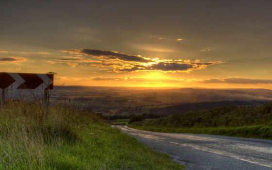 указатель, дорога, небо, картинка, facebook, sunset, nature,