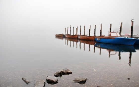 озеро, misty, лодка