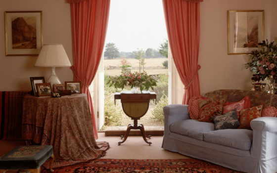 шторы, интерьер, гостиной, интерьере,