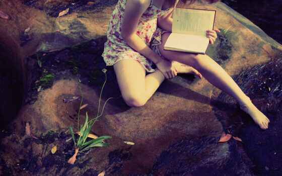 девушка, читает, книга