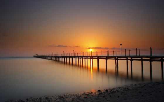 закат, море, pier, причал, anime, sun, slide, отдых, природа,