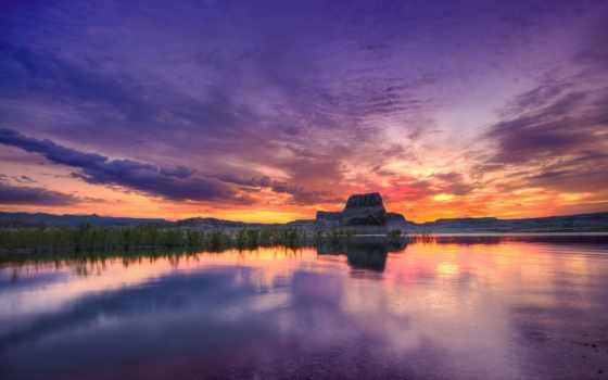 закат, high, definition, озеро, wide, desktop, природа, widescreen,
