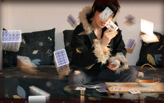 карты, летят, девушка,