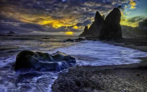 олимпийский, park, national, пляж, washington, rialto, pacific, ocean, rocks,