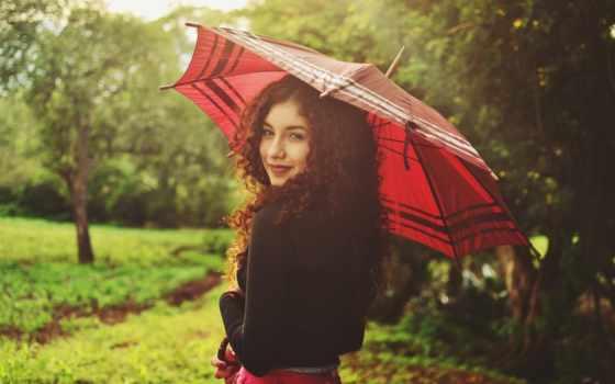 зонтик, модель, девушка, zoom, локоны, кудри,