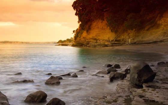 закат, пляж, море, камни, вектор, берегу, берег, scenery, лес,