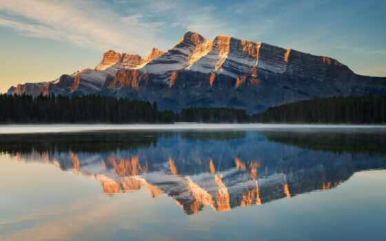 гора, озеро, отражение