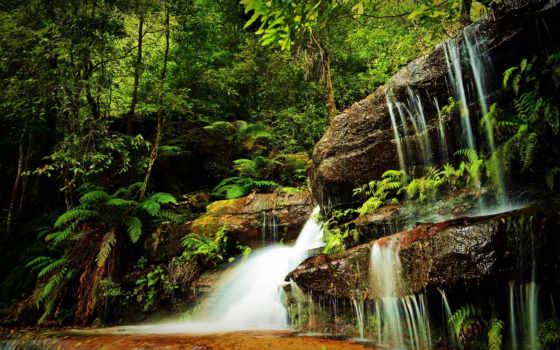 водопад, водопады, лес