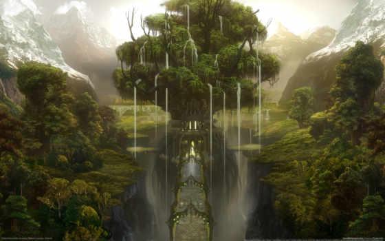 дерево, мост, горы
