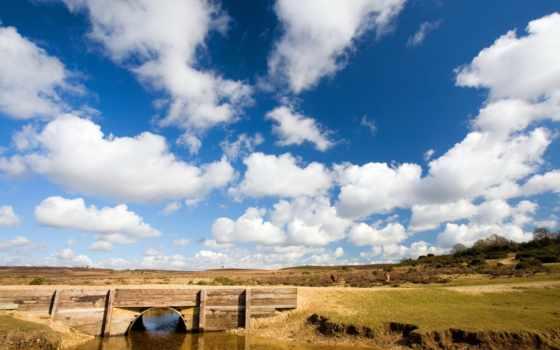 небо, oblaka, река