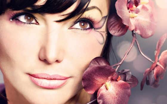 cvety, девушка, свет, веточка, очаровательные, гламурная, бриллианты, цветах,