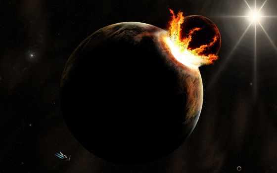 cosmos, космоса, planet, столкновение, взгляд, full,