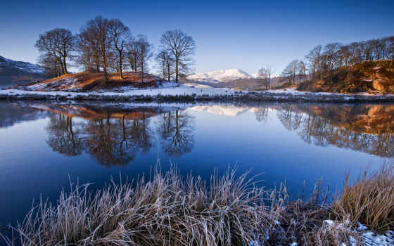 winter, снег, трава, озеро, река, иней, природа, берег, trees, горы, browse,