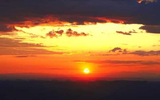 sun, заходящее, окрашивает, за, небо, зашедшее, оранжевый, свет, холмы, тёмные, горизонт,