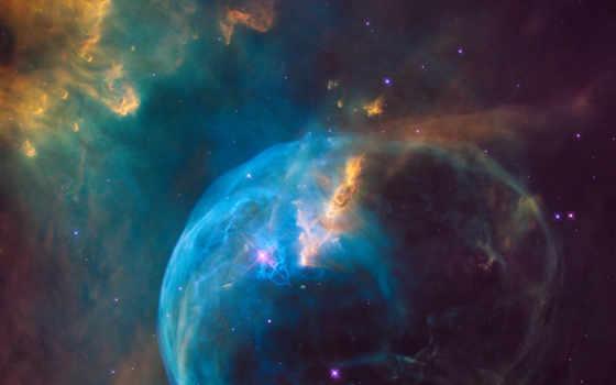 nebula, bubble, ngc, hubble, изображение, лет, свет, далеко, emission,