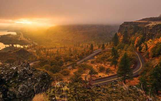 дорога, landscape, небо, закат, route, mountains, sun, trees,