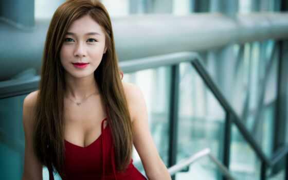 asian, девушка, cutie, волосы, женщина, платье, red, depth, поле, id, модель
