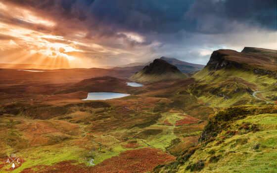 scotia, природа, шотландия, остров, scottish, skye, landscape, sun, гора, hill, трава