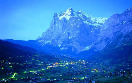 mountains, огни, гора, вечер, nature, blue, desktop, night, scenes, foot, beauty, cities,