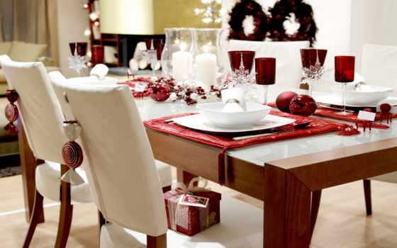 интерьер, элегантный, новогодний, дизайн, стиль, праздничный, оформление, красивое, декорация, бело, снежинки, комната, красное, шары, свечи, бокалы, подарок,