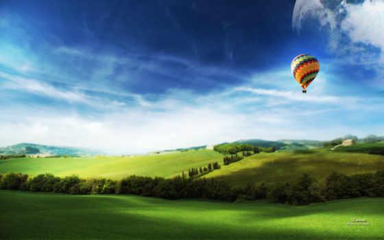 aerial, мяч, небо, широкоформатные, поле, луг, со, шары, небе, воздушные,