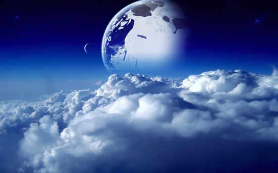 cosmos, planet, небо, oblaka, космос, луна, blue,