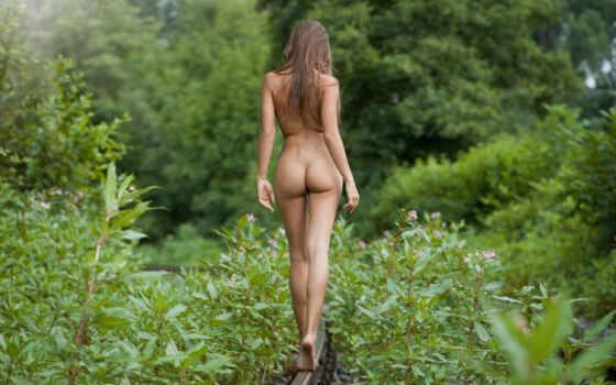девушка, природа, голые