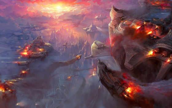 art, корабли, стимпанк, технологии, будущее, красивые, небо, steampunk, закат,