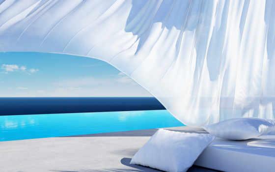 подушки, кровать, pillow, water, море, shadow, ткань, отражение, тег, ocean,