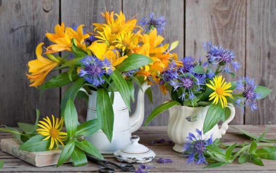cvety, книга, натюрморт, васильки, шикарный, ножницы, букет, композиция, красавица, лилии, заварник,