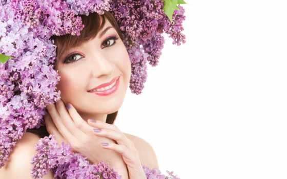 девушка, весна, венком, белом, fone, голове, сирени, клипарт, цветами, цветов, devushki,