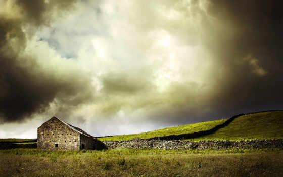 house, landscape, поле, небо, mountains,