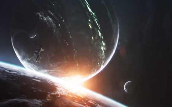 cosmos, parede, planet, papel, яркий, космонавт