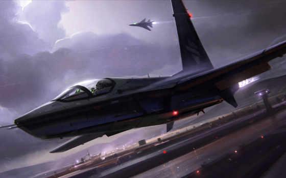 гроза, облака, аэродром, полоса, огни, ночь, истребитель, самолет, взлет, картинка,