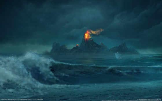 горы, art, картинку, изображение, digital, волны, www, огонь, лодка, project, обою, risen,