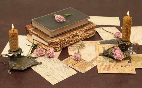 vintage, ретро, разное, книги, цветы, свечи,