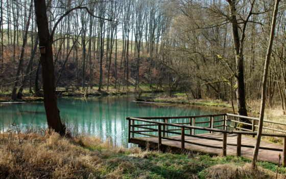 озеро, весна, пруд, water, природа, oblaka, трава, landscape, trees, мост, дерево,
