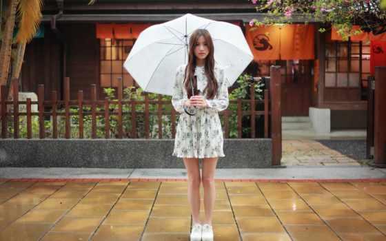девушка, зонтик, зонтиком, летит, firestock, зонтом,