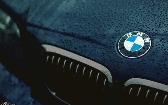 bmw, логотип, logo, капли, решетка, капюшон, car,