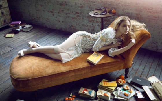 couch, lying, down, women, оранжевый, file, books, книга, blonde, плод