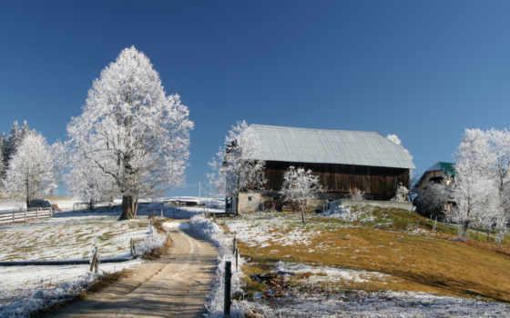 winter, снег, домики